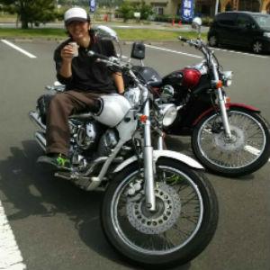 line画像,バイク男,缶コーヒー