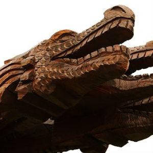 free画像,木造ドラゴン2体
