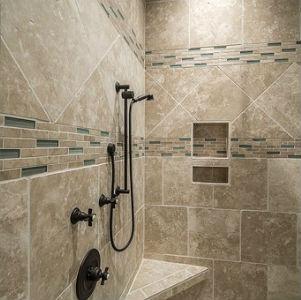 free画像,タイル浴室,ブラウン