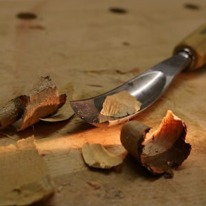 free画像,木と彫刻刀1本