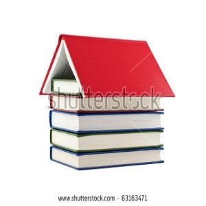 free画像,本の家,赤い屋根