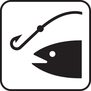 free画像,黒白イラスト,魚と釣り針