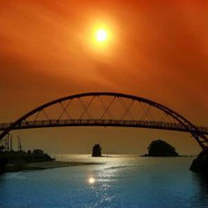 free画像,アーチ橋,夕焼け