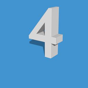 free画像,白色数字4,立体,背景青色